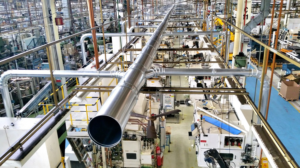 Línea tubería aspiración tornos mecanizado